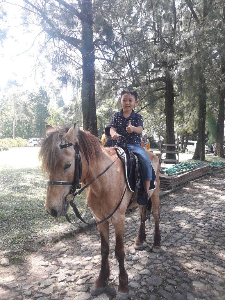 Anak-anak juga bisa naik kuda yang disediakan oleh pihak kebun raya sebagai bentuk fasilitas bagi para pengunjung KRC.