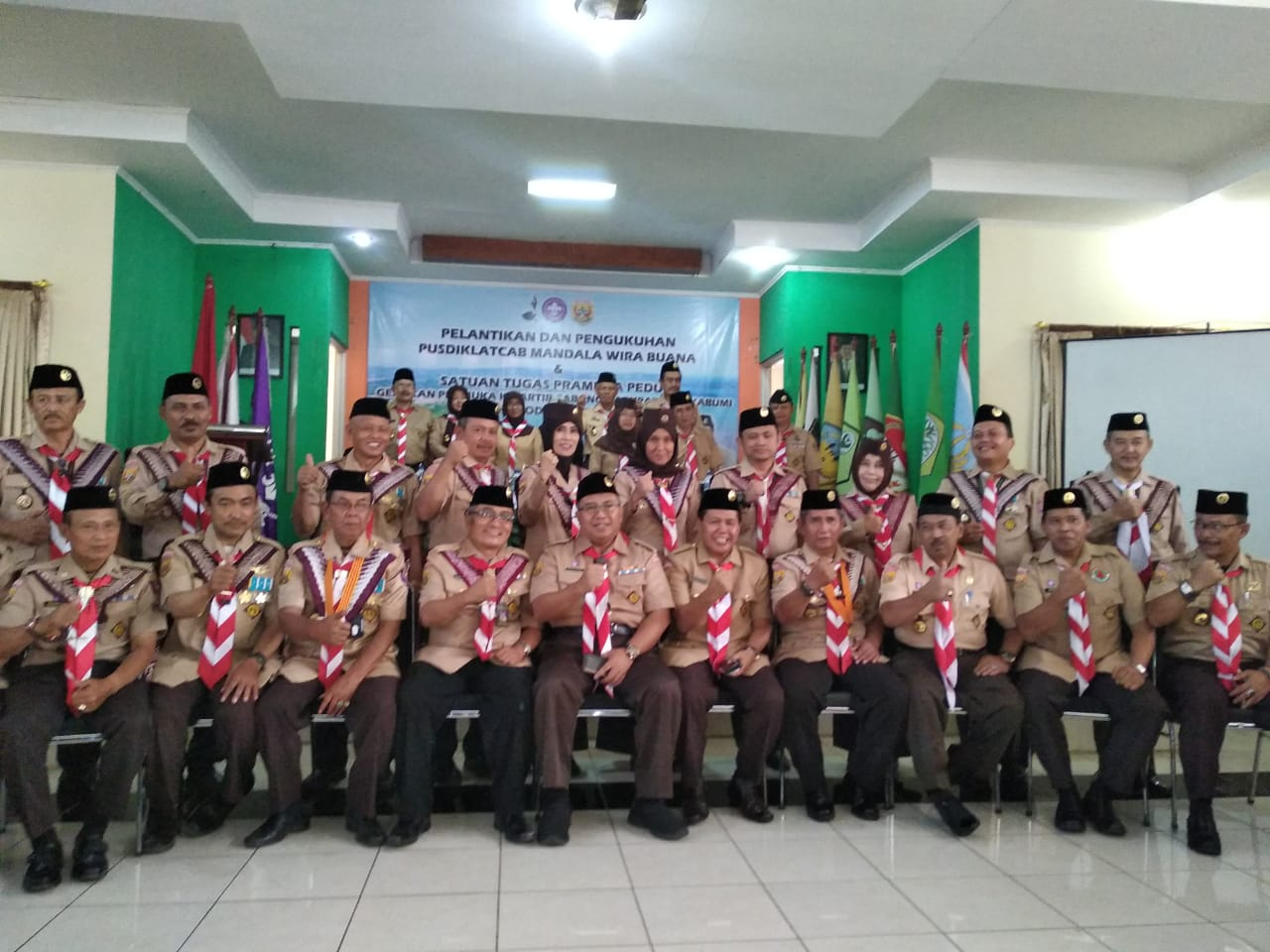 M. Solihin bersama Jajaran Pengurus Kwarcab Pramuka Kabupaten Sukabumi.