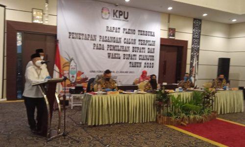KPU Cianjur Tetapkan Bupati/Wakil Bupati Terpilih Pilkada 2020